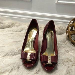 Coach maroon heels toe peep